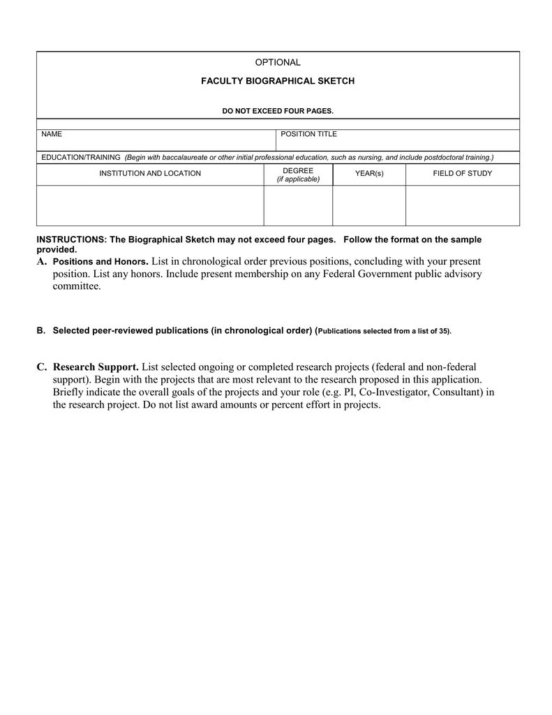 Faculty biographical sketch for nih biosketch template