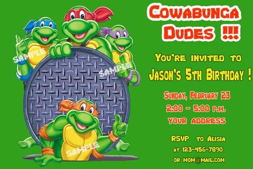 Download Teenage Mutant Ninja Turtles Birthday Invitation Free This For FREE At