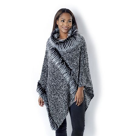 Frank Usher Boucle Knit Faux Fur Poncho order online at QVCUK.com