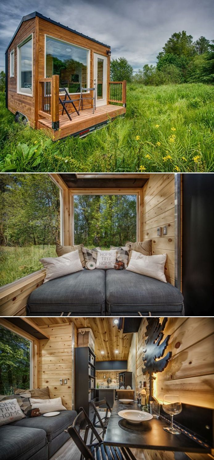 The tiny house is built on a trailer measuring 16-foot long and about 9-foot wide and 12-foot high. There is a total of 90-square-foot floor area, which is creatively utilized to incorporate amenities needed to make it a substitute home.