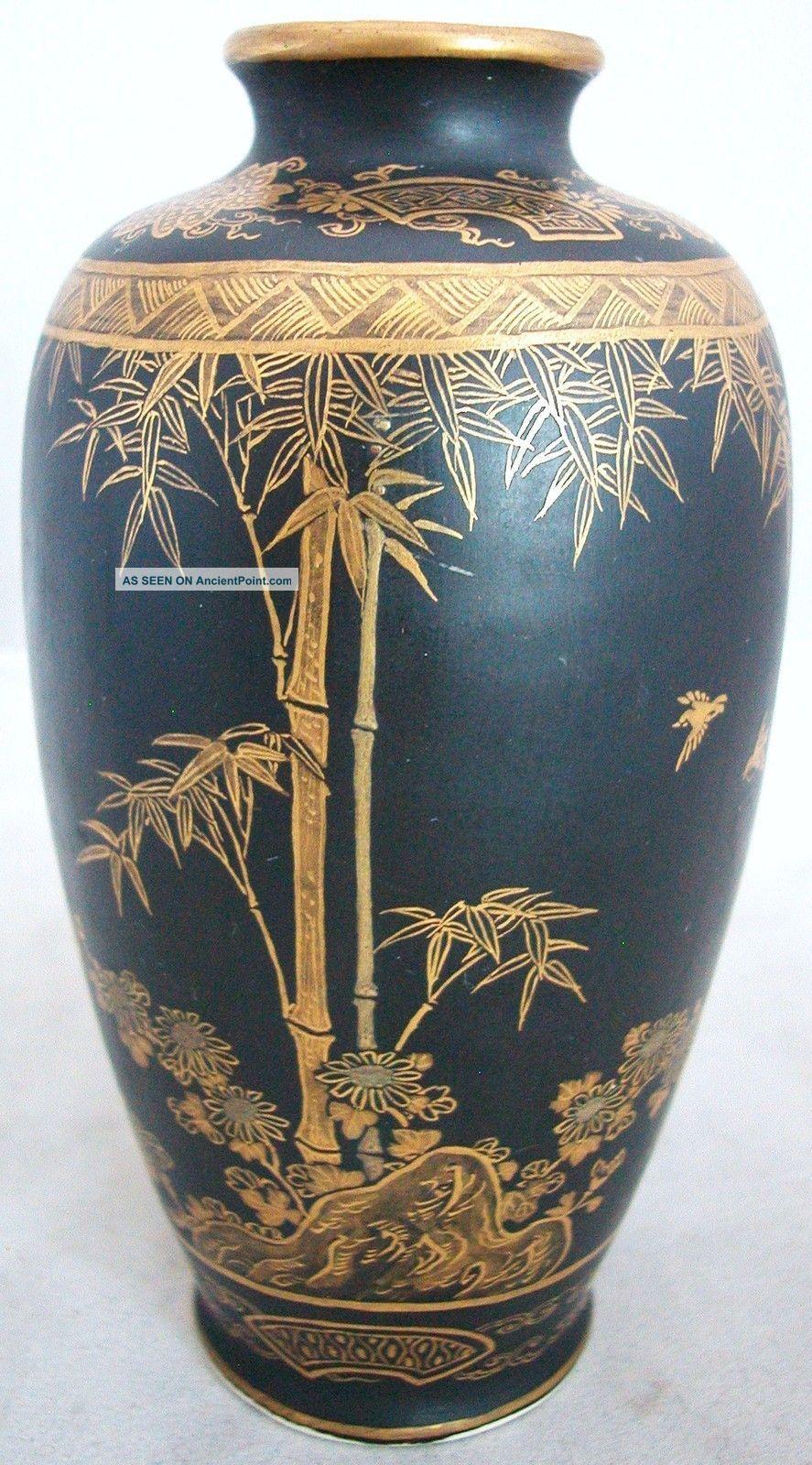 Signed Antique Meiji Japanese Black Bizan Kyoto Satsuma Vase (5