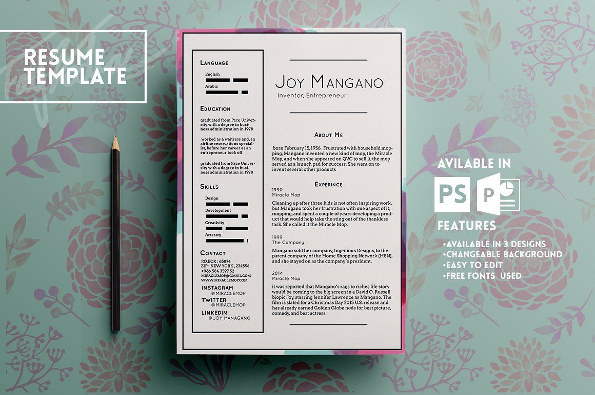 Joy resume template | Template and Fonts