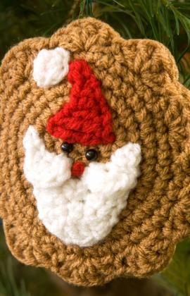 Crochet, santa cookie Christmas ornament, red heart