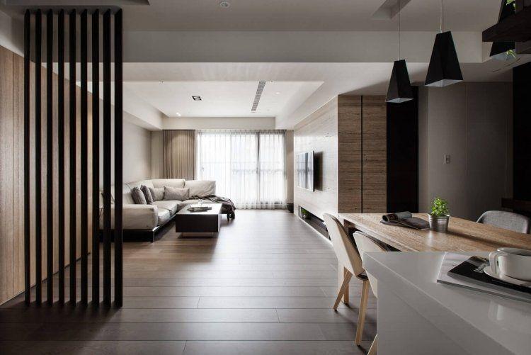 Beige Farbe  Wohnzimmer Ecksofa Fliesen Holzoptik Moderne Raumgestaltung