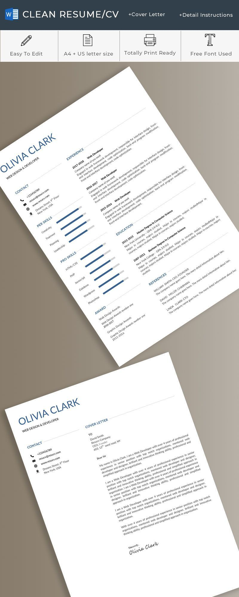 a beautiful and elegant resume tempaltes, with word format