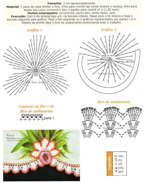 Crochê Gráfico: Flores em crochê para aplicação
