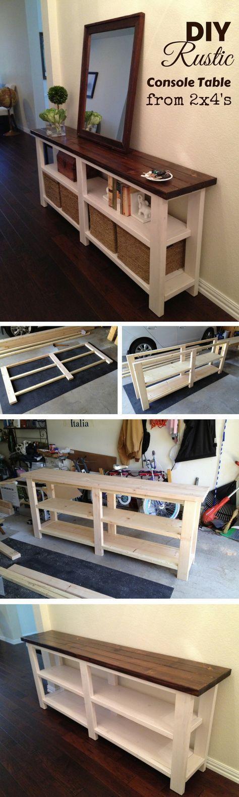 Photo of Lær hvordan du lager et rustikt trekonsollbord fra 2x4s DIY Home Decor …