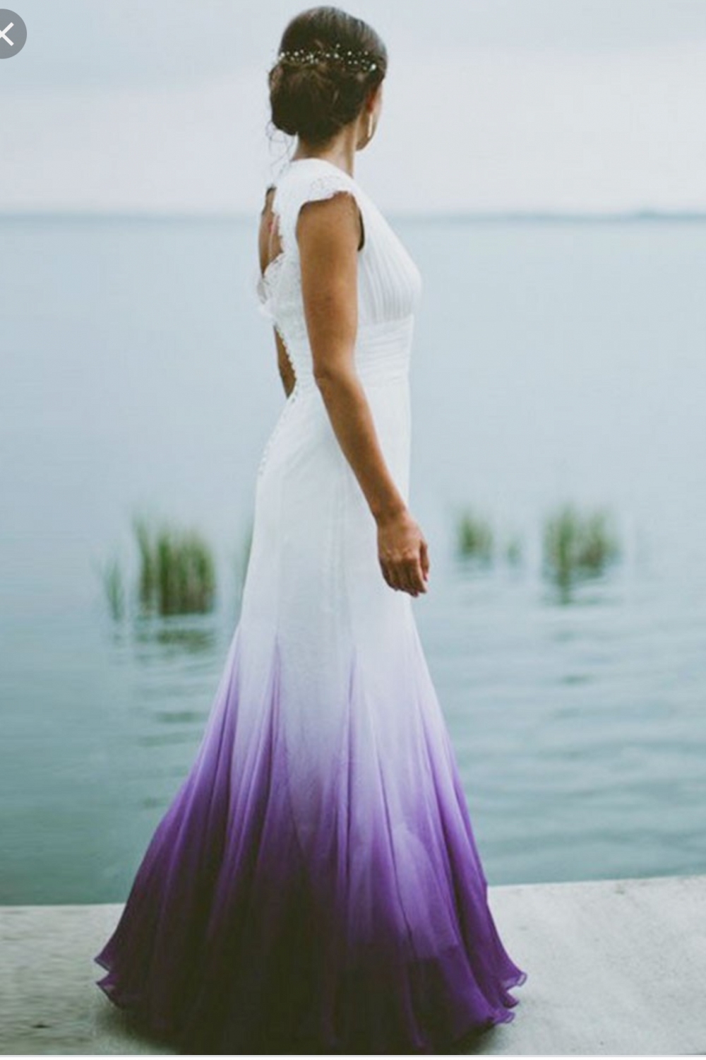 A Line V Neck Open Back Ombre Purple Chiffon Wedding Dress With Lace In 2021 Ombre Wedding Dress Wedding Dresses Near Me Purple Wedding Dress [ 1500 x 1000 Pixel ]