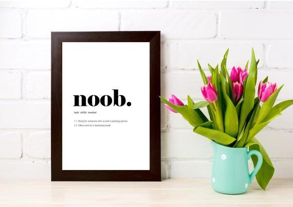Noob print gamer poster, gaming wall prints, dorm room decor, digital download, gaming desk #gamingdesk