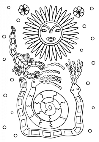 Huichol Art - Sun Scorpion and Snakes Dibujo para colorear
