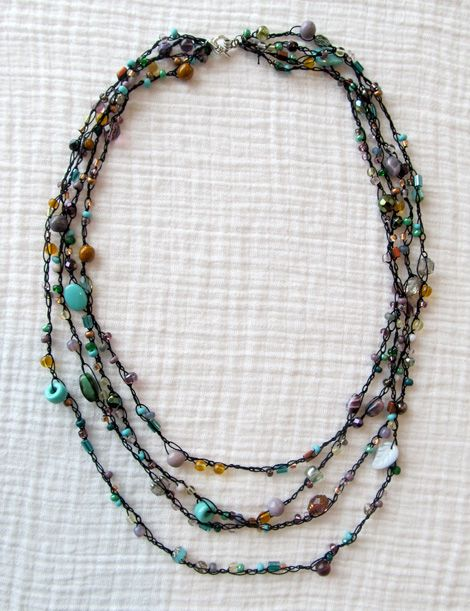 Crochet Beaded Necklace Tutorial Tutorials Crochet Beaded