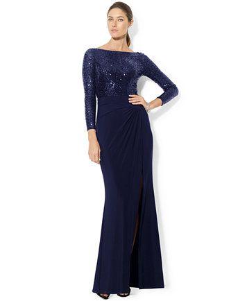 Lauren Ralph Lauren Long-Sleeve Sequined Gown   macys.com   Carrie ...