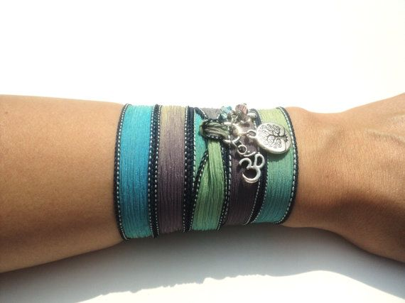 Tree of Life Silk Wrap Bracelet Blue Om by BohemianEarthDesigns, $30.95 Stunning jewlery! I LOVE the boho style in this shop!