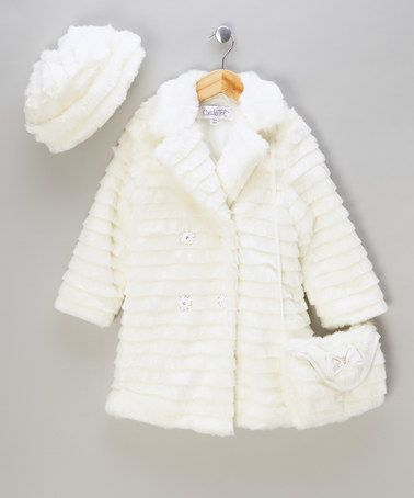 Take a look at this Cream Faux Fur Coat, Hat & Muff by Couche Tot on #zulily today!