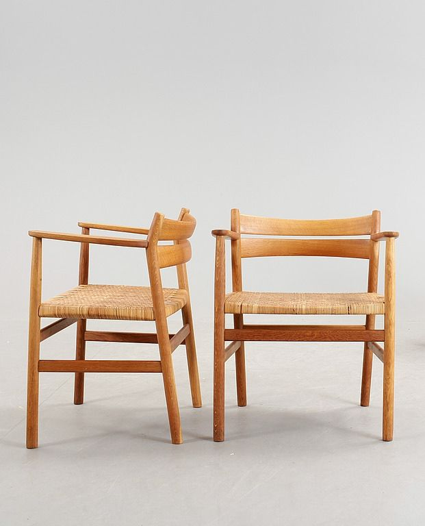 Börge Mogensen; Oak and Cane Armchairs for O.M. Madsens Fabriker, 1950s.