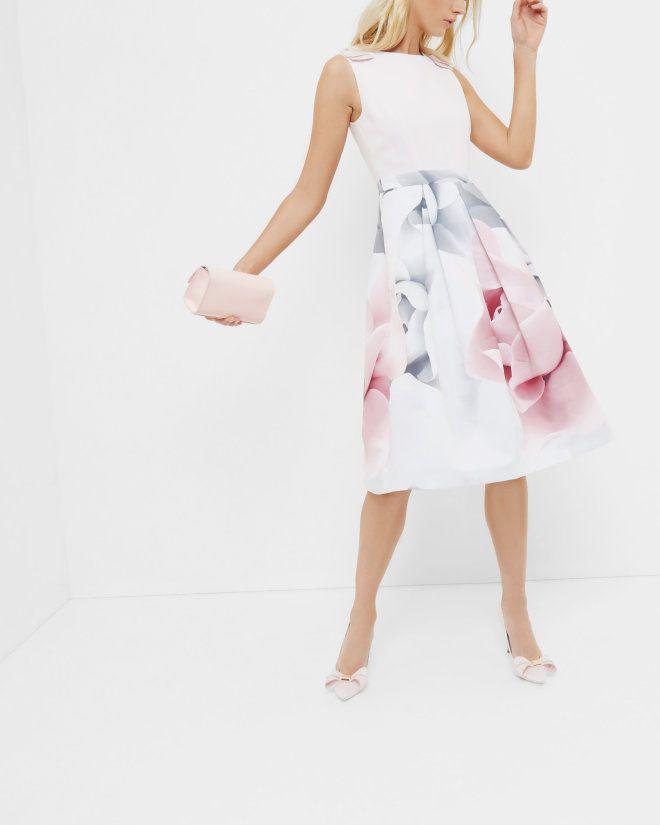 Porcelain Rose Bow Dress Ecru Dresses Ted Baker Uk Wedding Guest Skirt Ted Baker Dress Dresses
