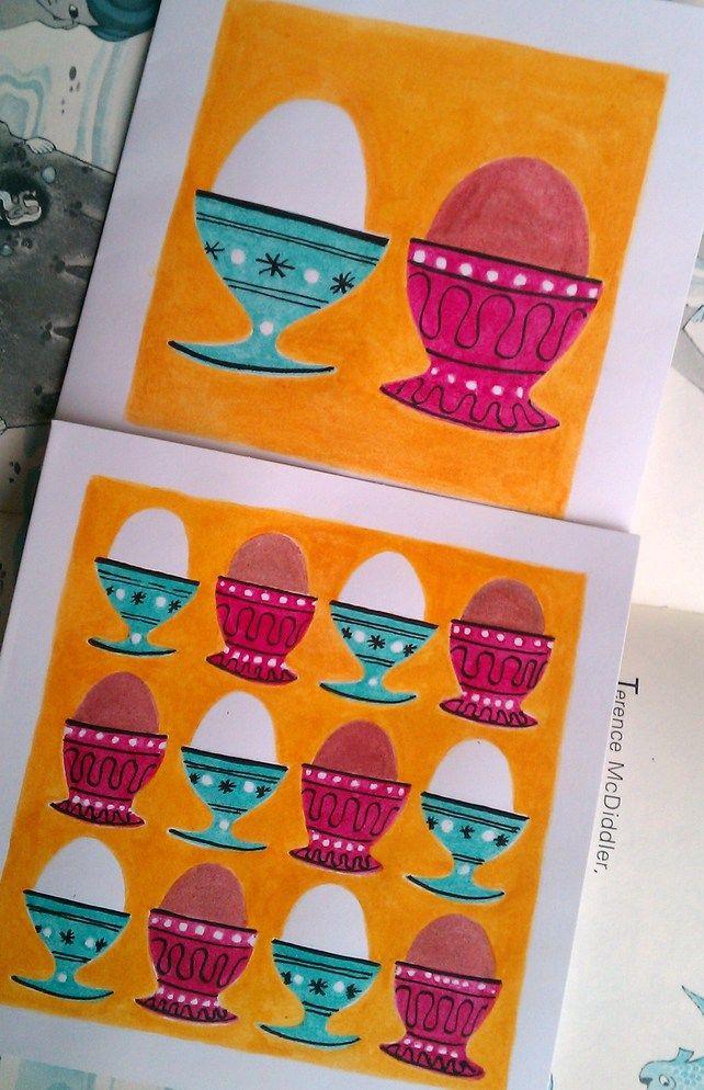 2 Retro Easter Egg cards £4.50