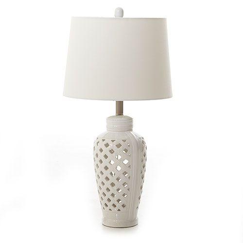 Fangio Lighting Ceramic Lattice Table Lamp.
