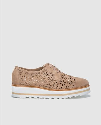 5a47c2dee Zapatos de cordones de mujer Zendra Basics de piel troquelada beige ...