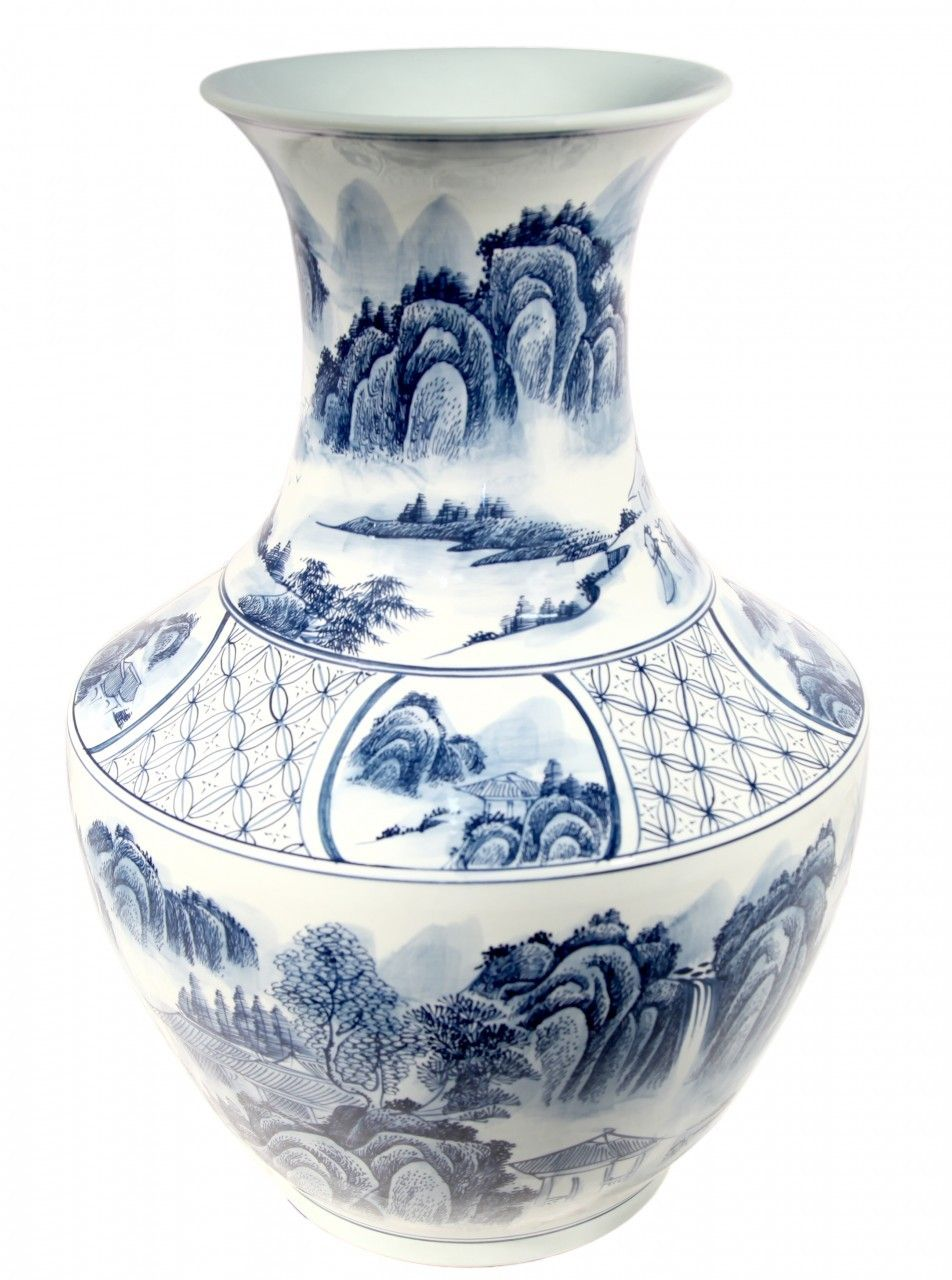 28h three ring chinese hand painted blue and white porcelain vase 28h three ring chinese hand painted blue and white porcelain vase with landscape design reviewsmspy
