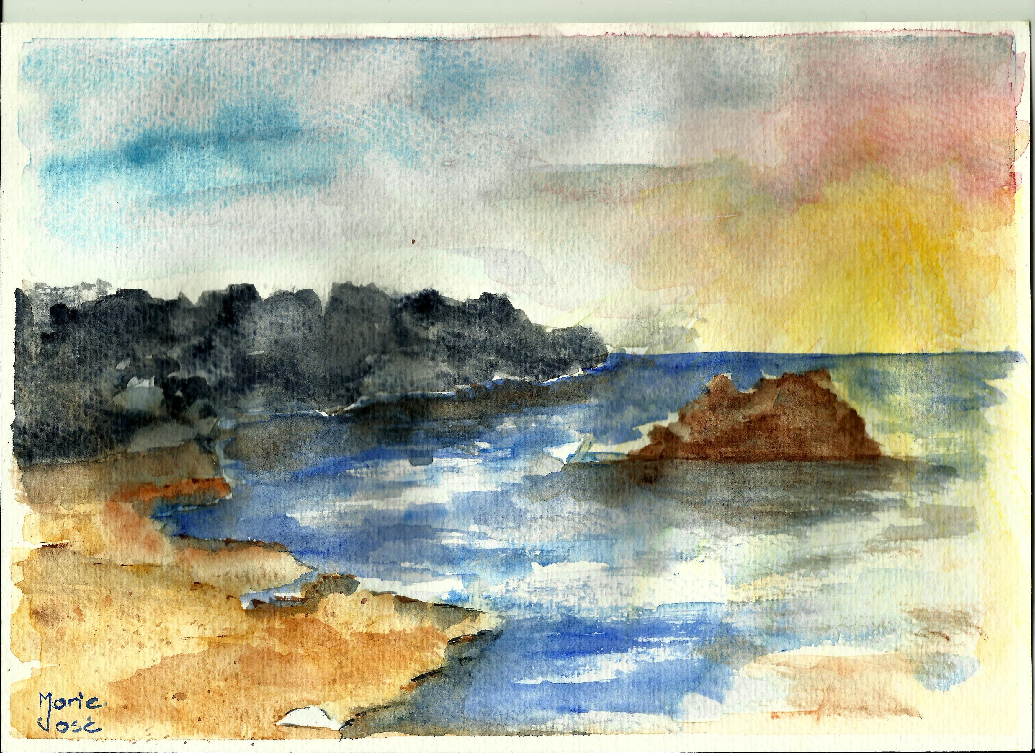 Watercoloring Sky Sand And Sea Videos De Peinture Mer Aquarelle