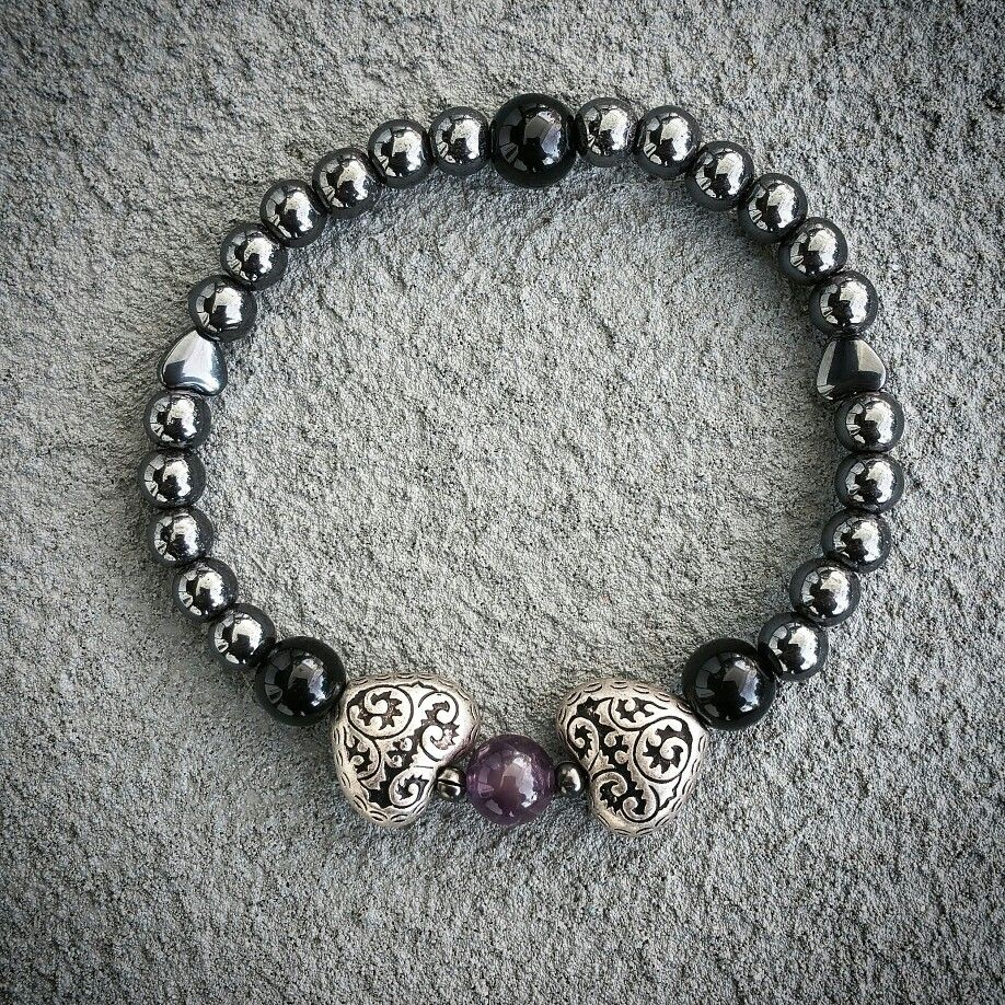 Amethyst, obsidian and hematite natural stone yoga zen healing bracelet available at: bellazenbracelets.etsy.com
