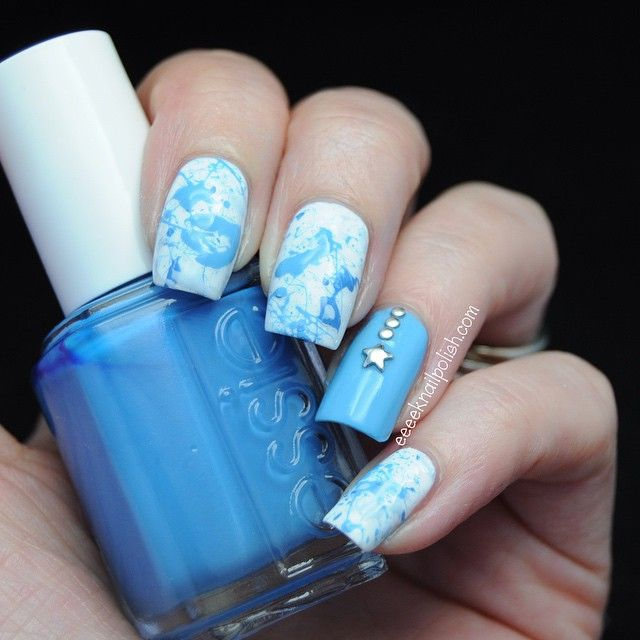 Splatter #manicure and star shape studs ===== Check out my Etsy ...