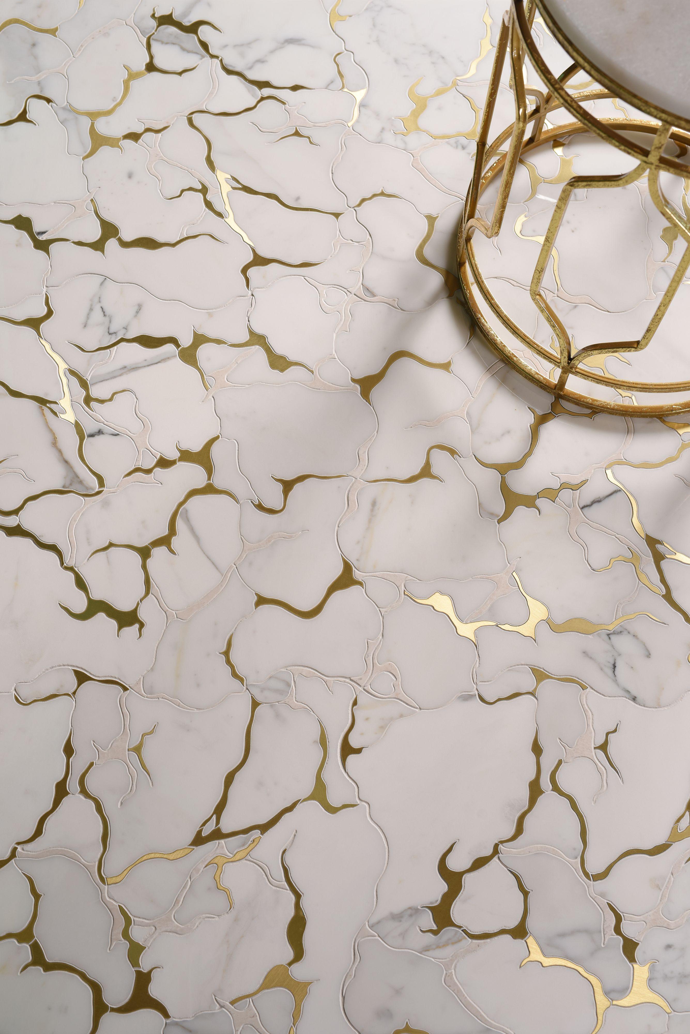 Gold Veined Marble Mosaic Floor Tile Marble Mosaic Floor Marble Tile Floor Mosaic Floor Tile