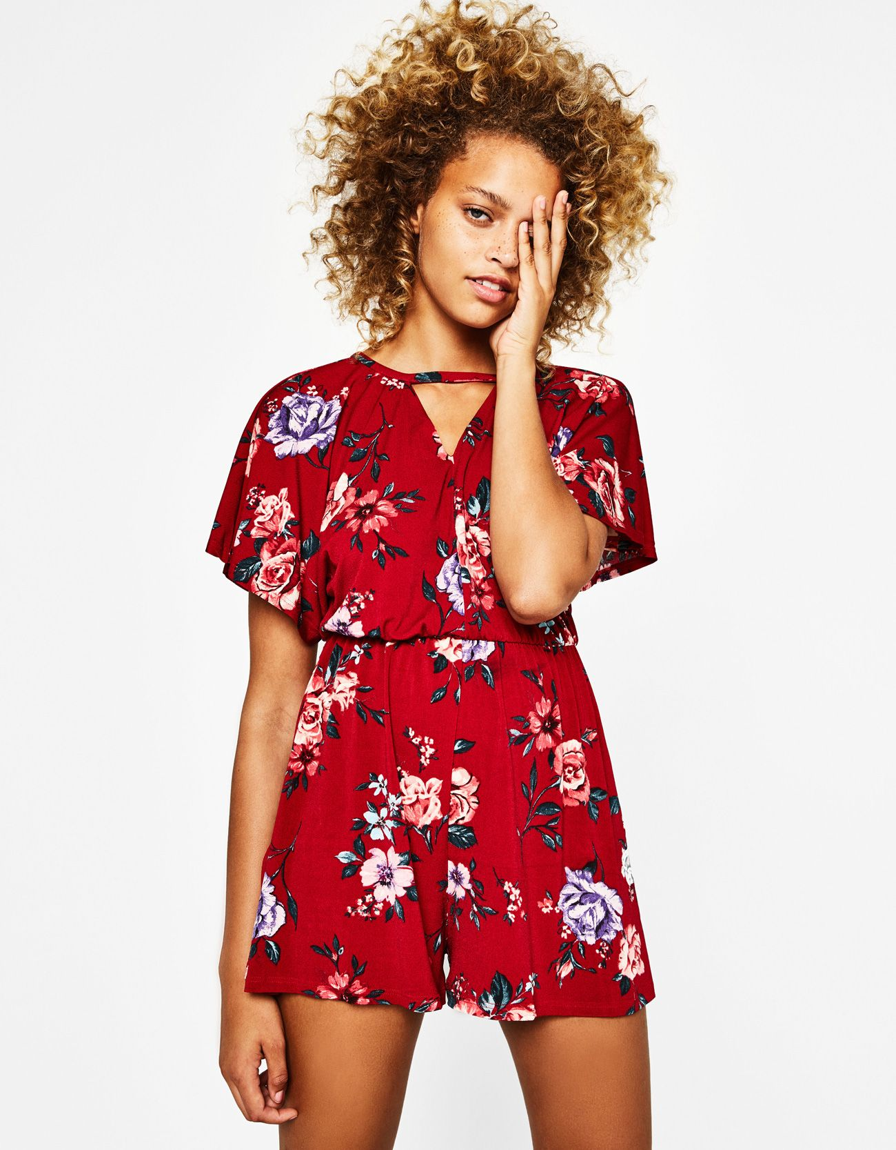Women Chiffon Playsuit Short Sleeve Jumpsuit,Red,L,United States