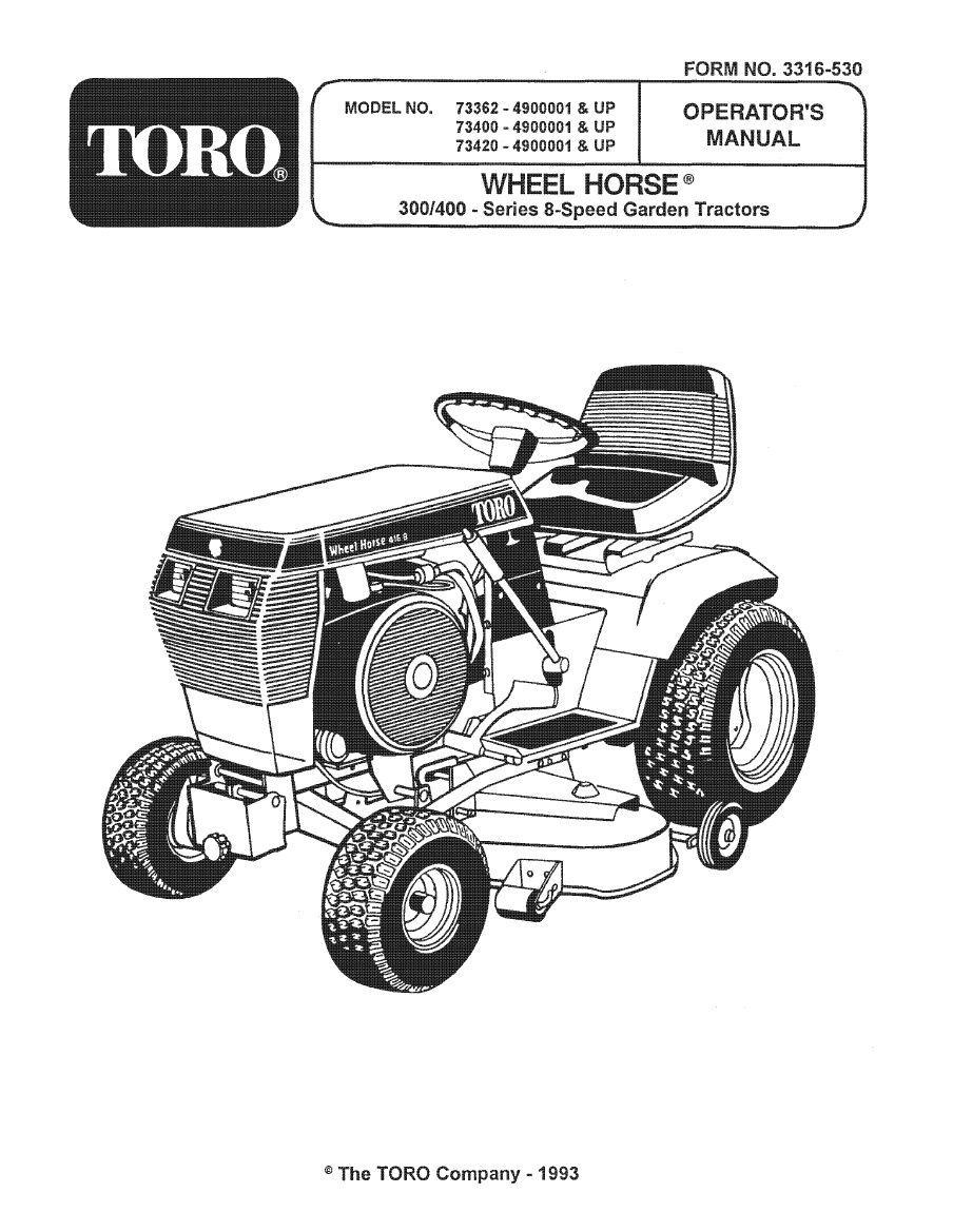 1993 Wheelhorse 312 314 416 Owners Manual For Models 73362