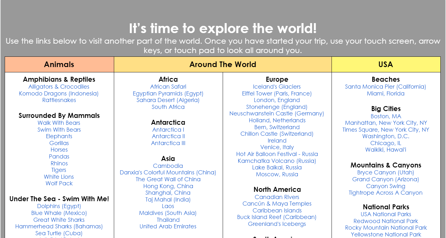 VR Field Trips Listed on TpT Do Not Delete in 2020