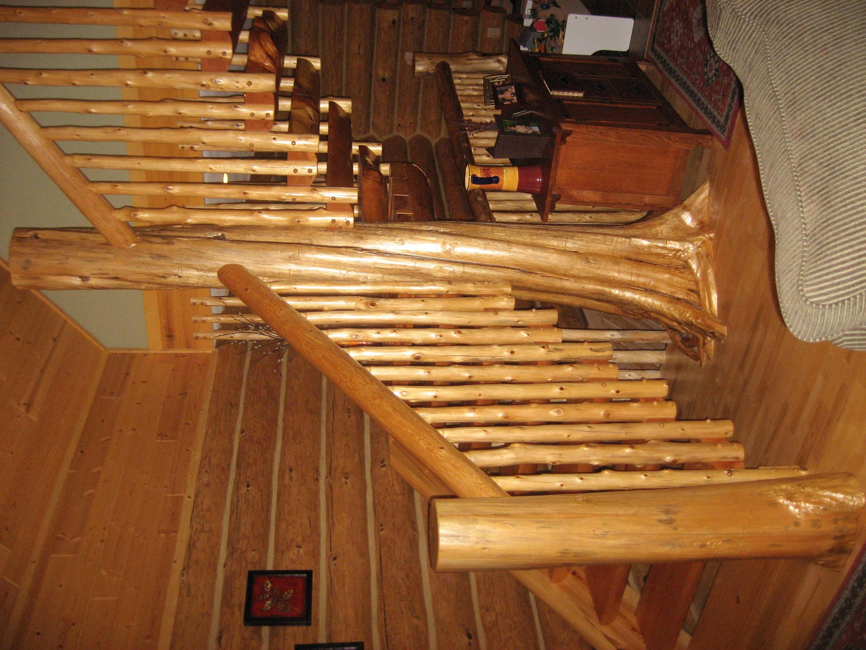 Best Custom Half Log Staircase Supported By Railings With 400 x 300