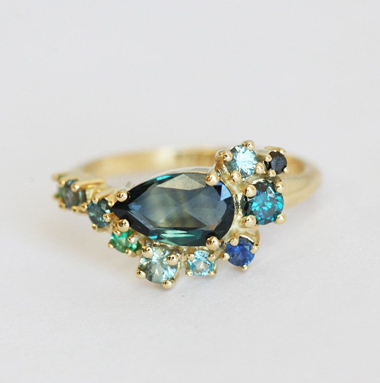 Blue Sapphire Ring Cluster Engagement Ring Pear Sapphire