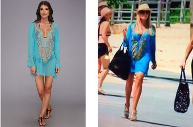 Tamra Judge's Turquoise Embroidered Beach Tunic in Bali DETAILS: http://www.bigblondehair.com/real-housewives/rhoc/tamra-judges-turquoise-embroidered-cover-bali/