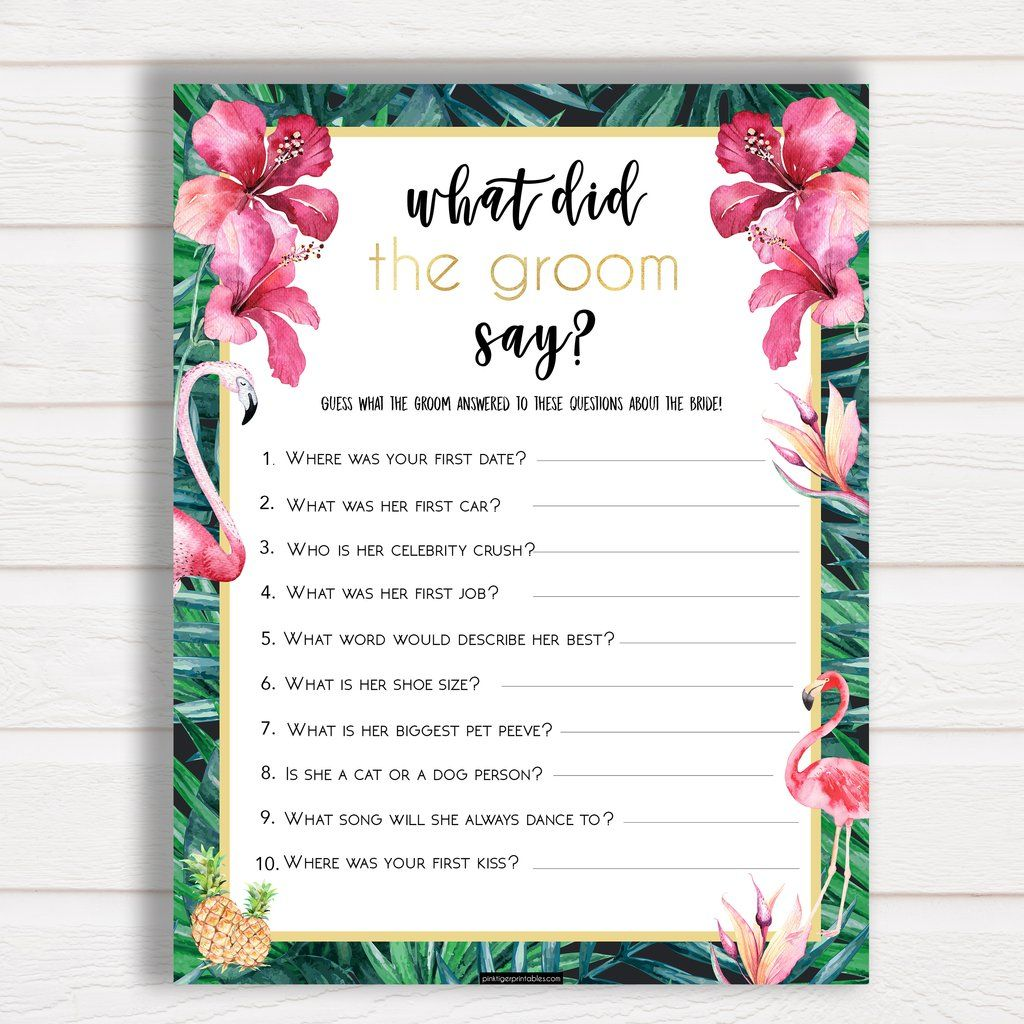 What Did The Groom Say Bridal Shower Tropical Collection Ideas