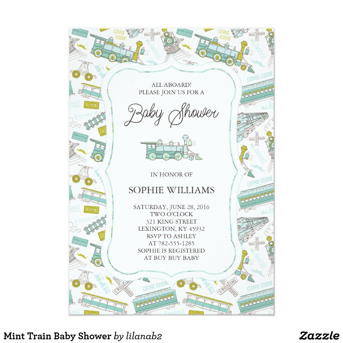 Mint Train Baby Shower Card This fun and sophisticated baby shower ...