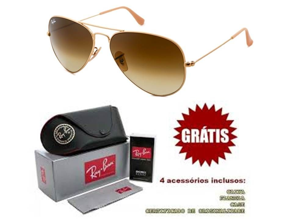 Óculos Ray ban Aviador marrom degradê Replica perfeita de Primeira linha  Masculino e Feminino. 5833f5414bd65
