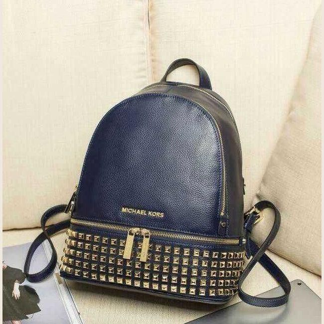 6bdb0257b8bd MICHAEL Michael Kors Small Rhea Zip Soft Venus Leather Studded Backpack  Navy Blue