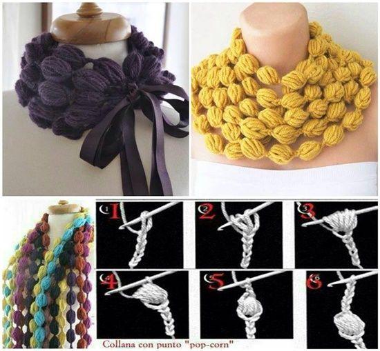 DIY Crochet Bubble Puff Stitch Scarf Necklace (Video)   Schal häkeln ...