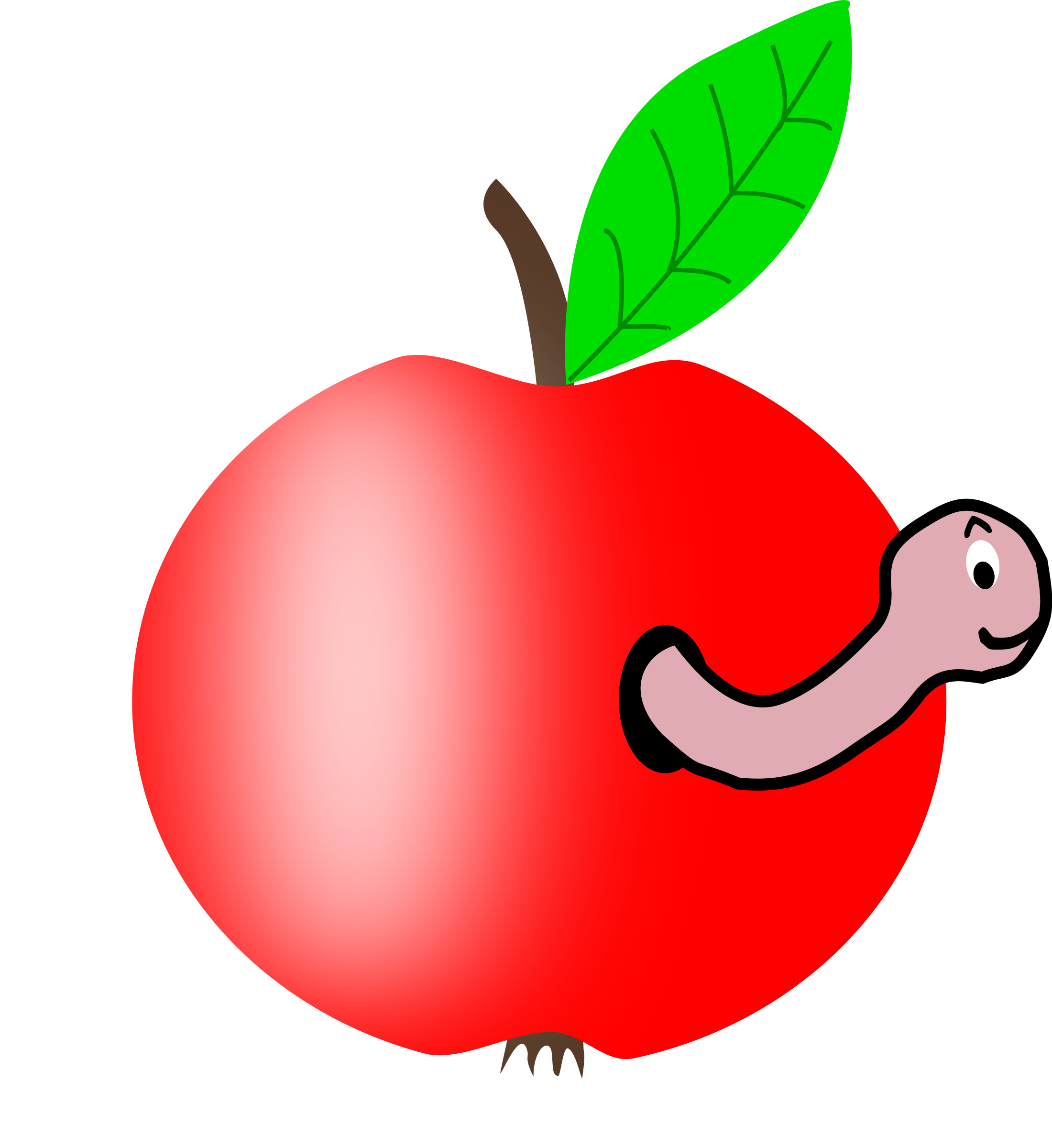 Apple Red With A Green Leaf With Funny Worm By