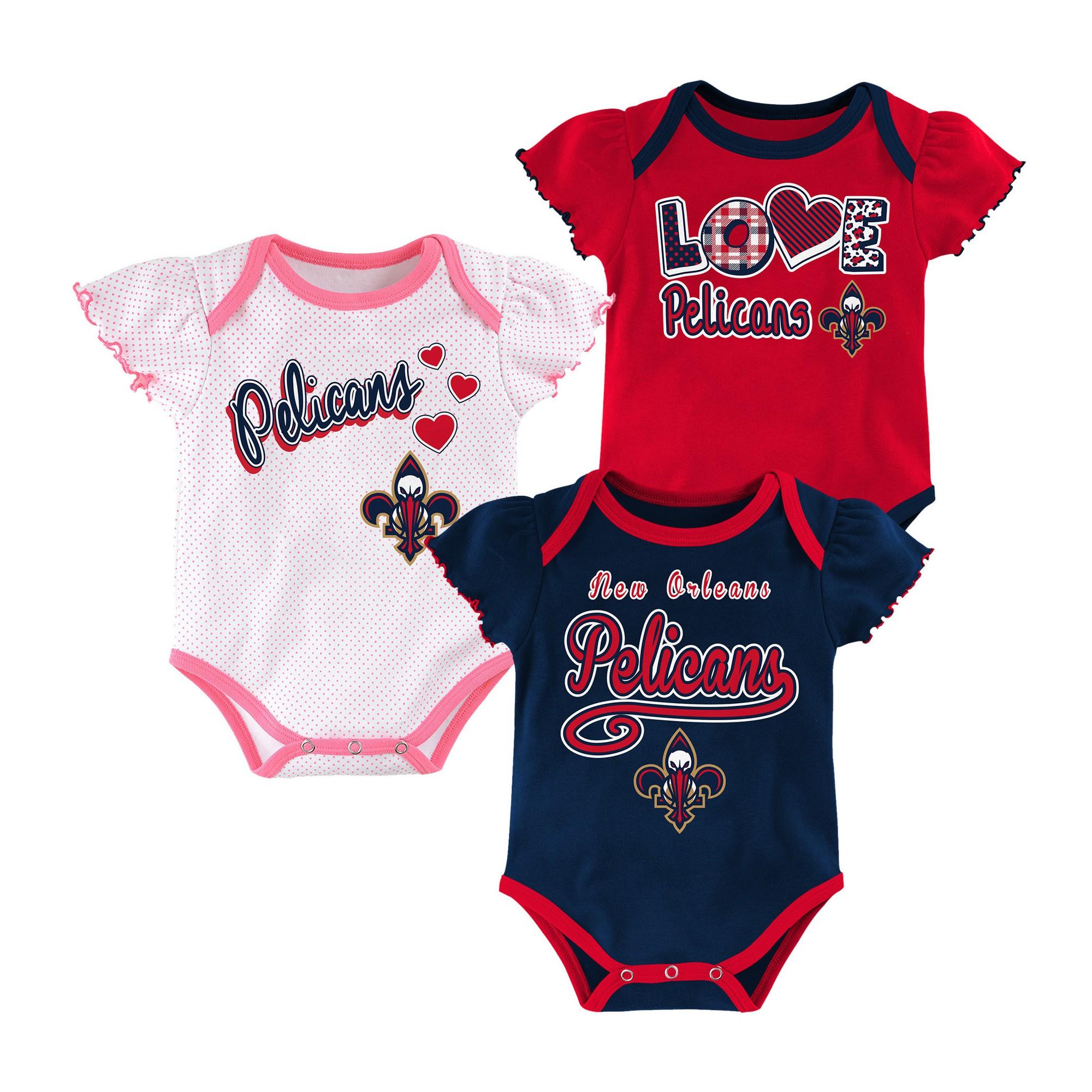 New Orleans Pelicans Baby Girls 3pk Bodysuit Set 3 6 M