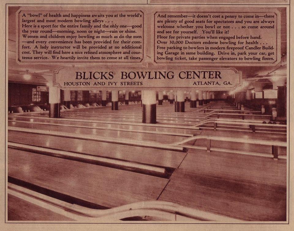 Blicks Bowling Center, Atlanta, Ga.. Bowling center