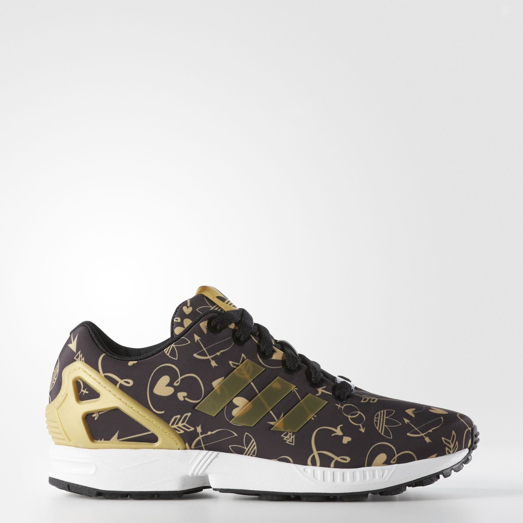 ab58b6c04 adidas - ZX Flux Shoes   90 Color Core Black   Metallic Gold   Running White  (B27462)