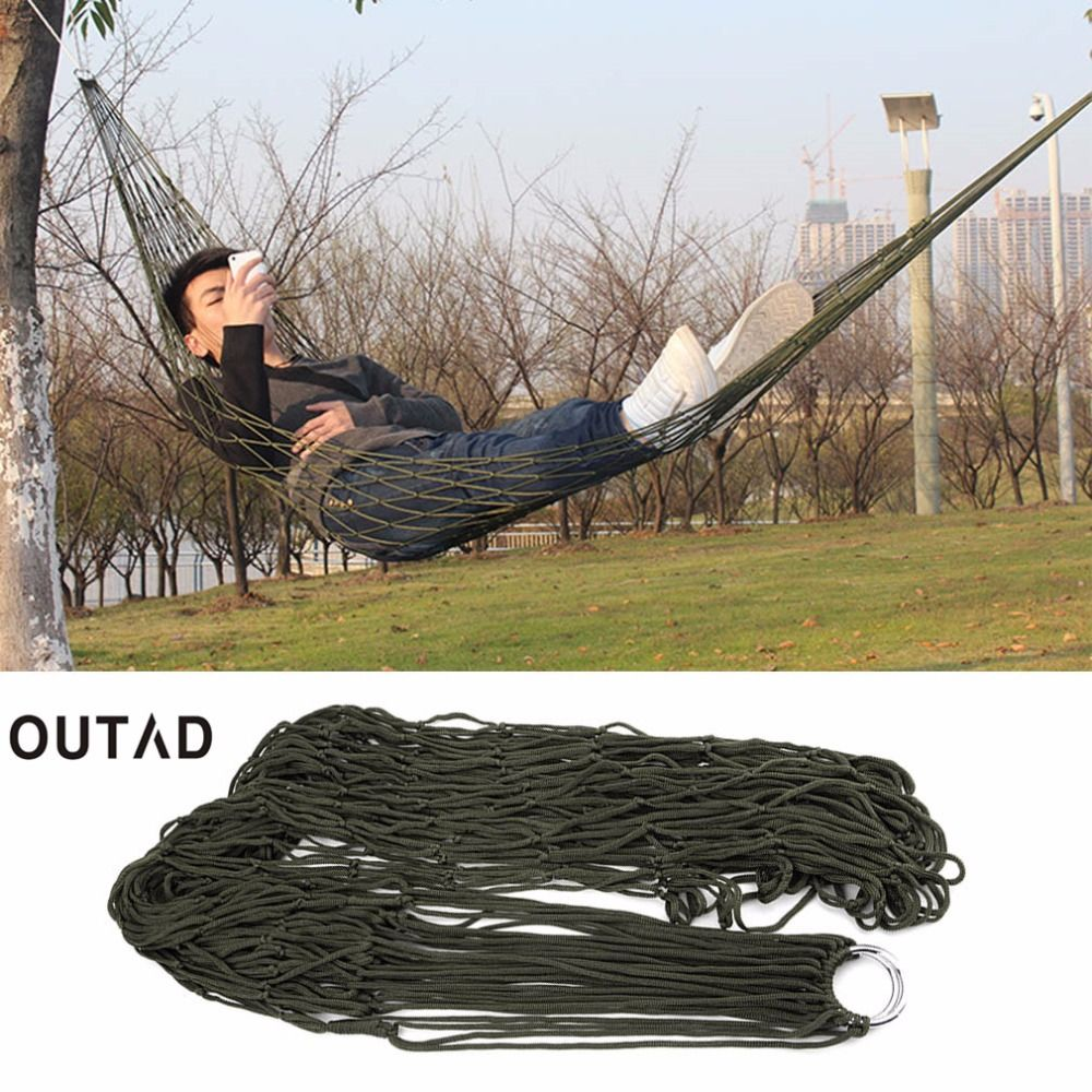 Outad nylon mesh hammock swing sleeping bed nylon hang mesh net