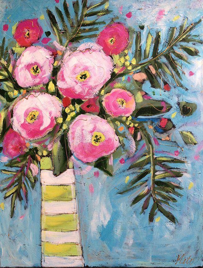 Bouquet Au Vase Raye Acrylique Sur Toile Par Isabelle Malo