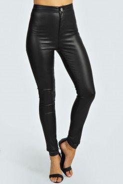 034d60a188 Pantalones Estrechos De Talle Alto Con Efecto Mojado Izzie - Pantalones -  Ropa