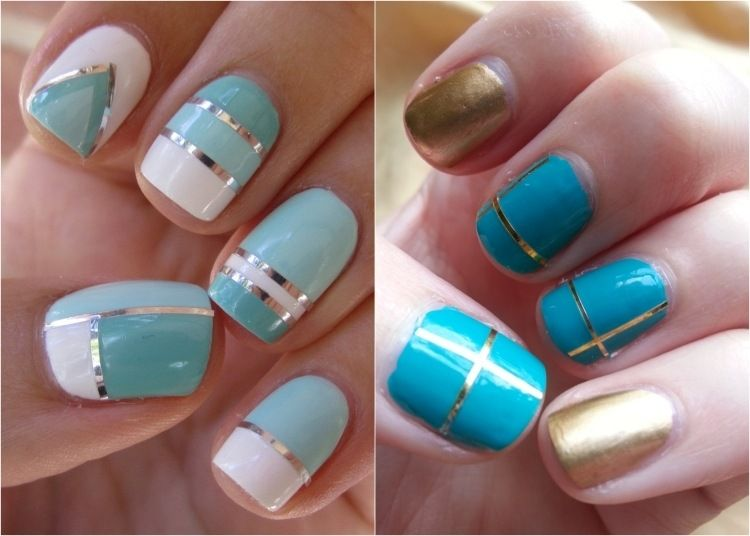 decoration ongles turquoise