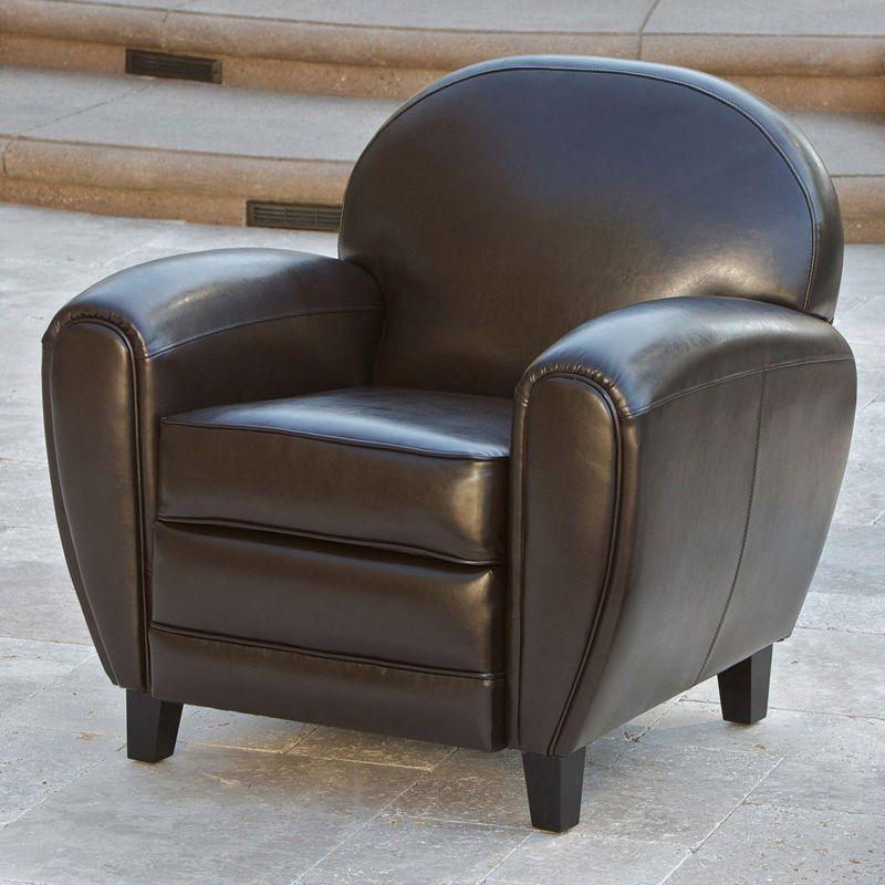 Elegant Design Espresso Leather Cigar Club Chair Armchair