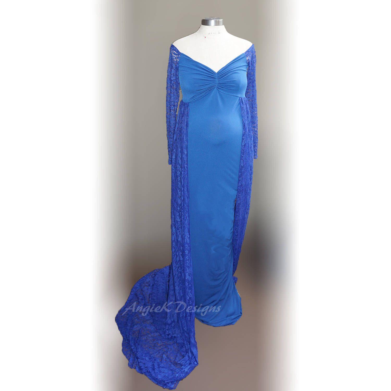 NEW Slimfit ELEGANT Royal Blue Soft Knit Maternity Shoot Dress f