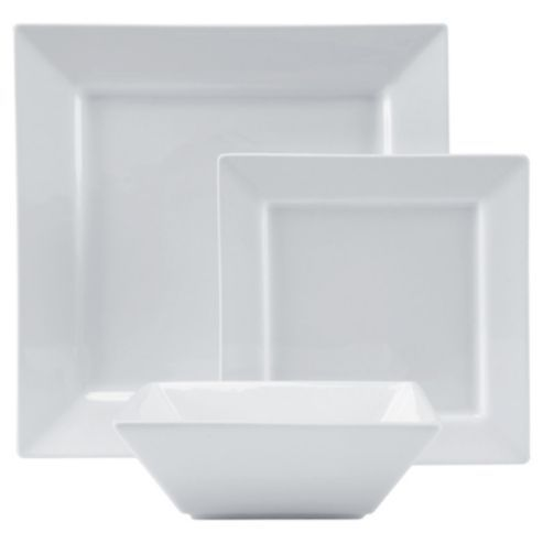 Buy Tesco Square Porcelain 12 Piece 4 Person Dinner Set - White from our Dinner  sc 1 st  Pinterest & Buy Tesco Square Porcelain 12 Piece 4 Person Dinner Set - White ...